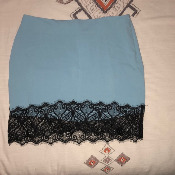 Tobi Dresses & Skirts - Baby blue & black lace skirt